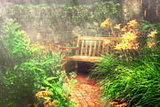 Garden Chairs Posters - Bench - Privacy  Poster by Mike Savad