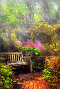 Nostalgic Prints - Bench - Tranquility II Print by Mike Savad