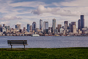 Seattle Waterfront Photos - Bench with a View by Dan Mihai