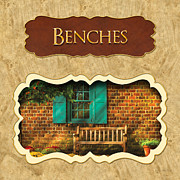 Bench Photo Metal Prints - Benches button Metal Print by Mike Savad