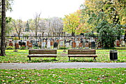 Park Benches Photos - Benches by the Cemetery by Valentino Visentini