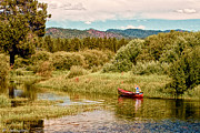 Canoe Mixed Media Prints - Bend/Sunriver Thousand Trails Print by Nadine and Bob Johnston
