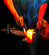 Forging Posters - Bending Hot Steel Poster by Terril Heilman