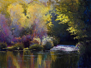 Fall  Of River Paintings - Bending With The River by Vicky Russell