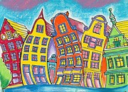 Quirky Pastels Prints - Bendy Amsterdam Print by Tanya Mai Johnston