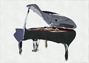 Piano Digital Art Posters - Bendy Piano Poster by David Ridley