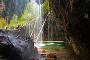 Lake Framed Prints Posters - Beneath the Falls at Hanging Lake Colorado Poster by John Hoffman