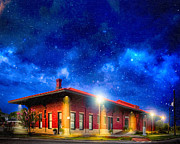 Small Town Digital Art Prints - Beneath The Stars - Montezuma Train Depot Print by Mark E Tisdale