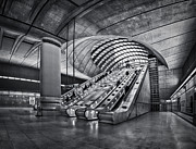 Escalator Framed Prints - Beneath The Surface Of Reality Framed Print by Evelina Kremsdorf