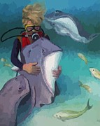Rays Paintings - Benevolent Creatures at Stingray City by John Malone