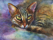 Vibrant Colors Drawings Prints - Bengal Cat watercolor art painting Print by Svetlana Novikova