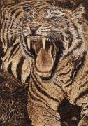 Wild Animals Pyrography Metal Prints - Bengal Tiger Metal Print by Vera White