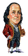 Caricatures Paintings - Benjamin Franklin by Art