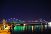 Franklin Metal Prints - Benjamin Franklin Bridge at Night from Penns Landing Metal Print by Bill Cannon