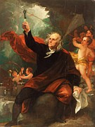 Franklin Painting Posters - Benjamin Franklin Drawing Electricity from the Sky Poster by Pg Reproductions