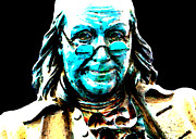 Franklin Framed Prints - Benjamin Franklin - Historic Figure Pop Art By Sharon Cummings Framed Print by Sharon Cummings