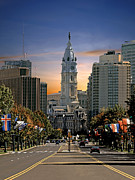Philadelphia City Hall Framed Prints - Benjamin Franklin Parkway Framed Print by Harry Lamb