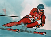 Ski Painting Metal Prints - Benjamin Raich Metal Print by Paul  Meijering