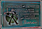 Ben's Deli Restaurant Fameux Comptoir Charcuterie Smoked Meat Take-0ut Montreal Memorabilia Print by Carole Spandau