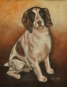 Hunting Pastels Prints - Benson - English Springer Spaniel Print by Heather Kertzer