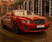 Streetlight Painting Posters - Bentley Continental Poster by Damir Selmanovic