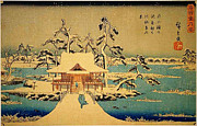 Shell Texture Painting Prints - Benzaiten Shrine At Inokashira In Snow Print by MotionAge Art and Design - Ahmet Asar
