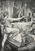 Beowulf Replies Haughtily To Hunferth Print by John Henry Frederick Bacon