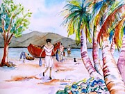 Coconut Trees Paintings - Bequia Beach Imports by Carlin Blahnik