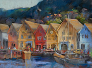 Norway Painting Framed Prints - Bergen Bryggen in the Early Morning Framed Print by Joan  Jones