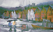 Boats In Harbor Pastels Framed Prints - Bergen Bryggen in the Rain Framed Print by Joan  Jones