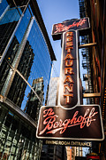 Brewery Prints - Berghoff Restaurant Sign in Downtown Chicago Print by Paul Velgos