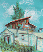 Sienna Drawings Prints - Berkeley Neighbor Houses on a Sunny Day Print by Asha Carolyn Young
