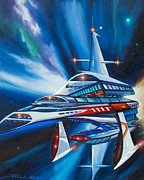 Dark Energy Painting Originals - Berkey IV Starship by James Christopher Hill
