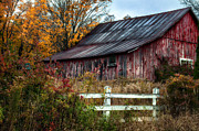 Old Barns Metal Prints - Berkshire Autumn - Old Barn Series   Metal Print by Thomas Schoeller