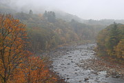 Deerfield River Metal Prints - Berkshires Mohawk Trail Deerfield River Autumn Fog Metal Print by John Burk
