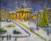 Winter Landscape Pastels Framed Prints - Berlin Brandenburg Gate in Winter Night Framed Print by Barbara Anna Knauf