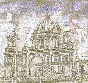 Berlin Mixed Media Prints - Berlin Cathedral Scratch Print by Navo Art