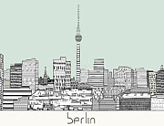 Berlin Germany Mixed Media - Berlin City Skyline  by Brian Buckley