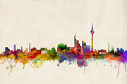 Watercolor  Posters - Berlin City Skyline Poster by Michael Tompsett