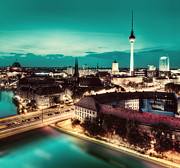 Berlin Germany Posters - Berlin Germany major landmarks at night Poster by Michal Bednarek