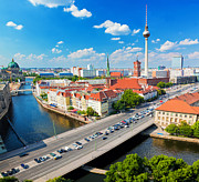 Alexanderplatz Prints - Berlin Germany view on major landmarks Print by Michal Bednarek