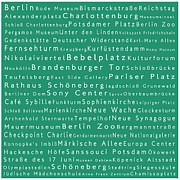 Berlin Germany Framed Prints - Berlin in Words Algae Framed Print by Sabine Jacobs