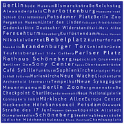 Berlin Germany Framed Prints - Berlin in Words Blue Framed Print by Sabine Jacobs