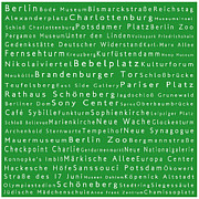 Berlin Germany Framed Prints - Berlin in Words Green Framed Print by Sabine Jacobs