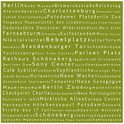 Berlin Germany Framed Prints - Berlin in Words Olive Framed Print by Sabine Jacobs