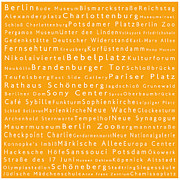 Berlin Germany Framed Prints - Berlin in Words Orange Framed Print by Sabine Jacobs