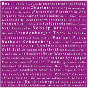 Berlin Germany Framed Prints - Berlin in Words Pink Framed Print by Sabine Jacobs