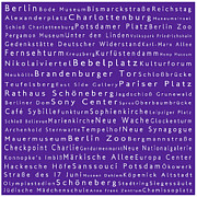 Berlin Germany Framed Prints - Berlin in Words Purple Framed Print by Sabine Jacobs