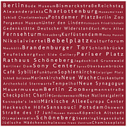 Berlin Germany Framed Prints - Berlin in Words Red Framed Print by Sabine Jacobs