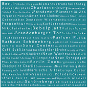 Berlin Germany Framed Prints - Berlin in Words Teal Framed Print by Sabine Jacobs